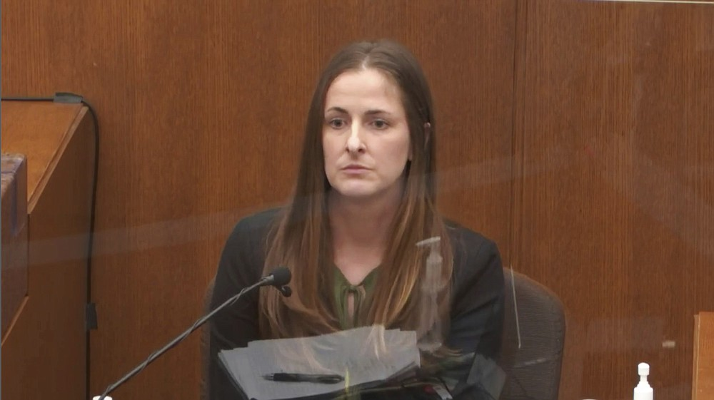 In this image taken from video, McKenzie Anderson, a forensic scientist with the Minnesota Bureau of Criminal Apprehension testifies as Hennepin County Judge PeterCahill presides Wednesday, April 7, 2021, in the trial of former Minneapolis police Officer Derek Chauvin at the Hennepin County Courthouse in Minneapolis. Chauvin is charged in the May 25, 2020 death of George Floyd. (Court TV via AP, Pool)