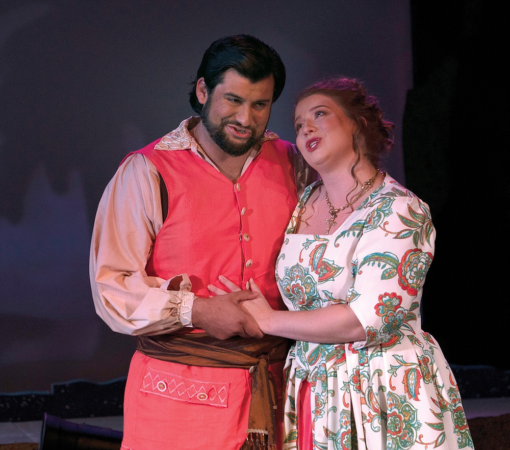 """Mark Sepulveda and Krista Pape in a scene from """"The Abduction from the Seraglio"""" at Inspiration Point in 2019: Opera in the Ozarks is planning live opera again for the summer of 2021 after canceling 2020 performances because of the pandemic. (Special to the Democrat-Gazette)"""