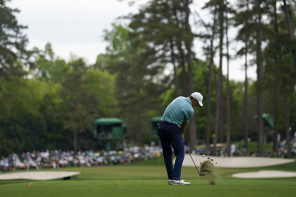 Jordan Spieth hits his tee shot on the 16th hole during the second round of the Masters golf tournament on Friday, April 9, 2021, in Augusta, Ga. (AP Photo/David J. Phillip)