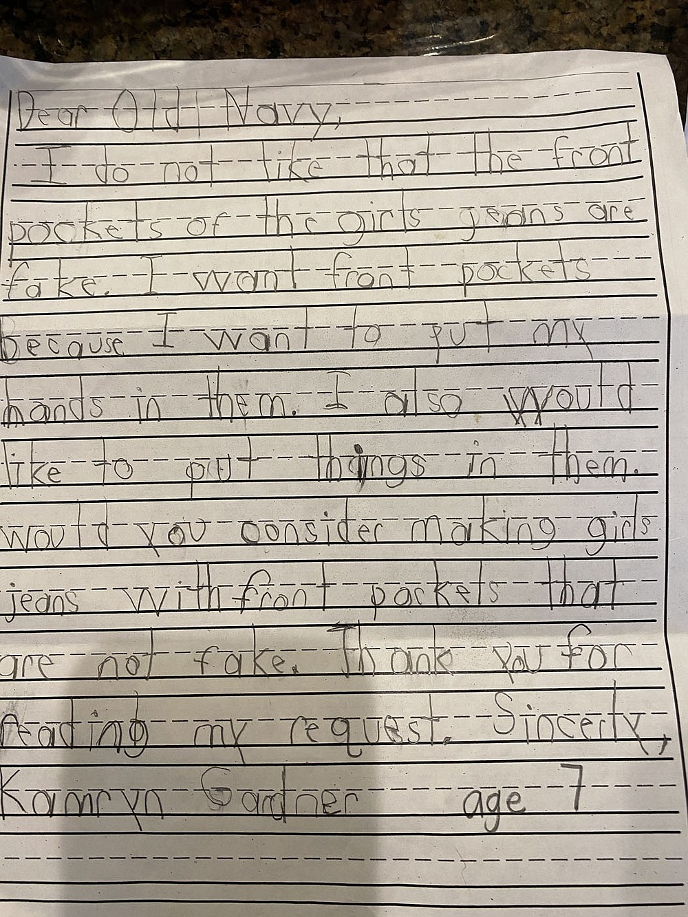 Evening Star Elementary School first-grader Kamryn Gardner, 7, wrote a letter to Old Navy in January asking them to make jeans with functional pockets.