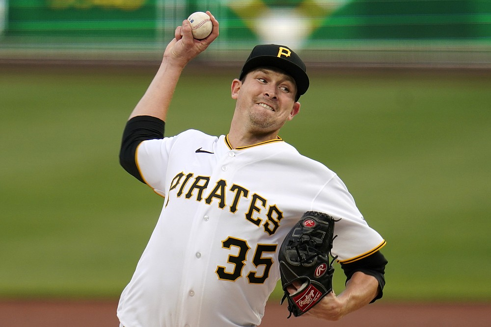Pittsburgh Pirates starting pitcher Trevor Cahill delivers during the first inning of a baseball game against the San Diego Padres in Pittsburgh, Monday, April 12, 2021. (AP Photo/Gene J. Puskar)