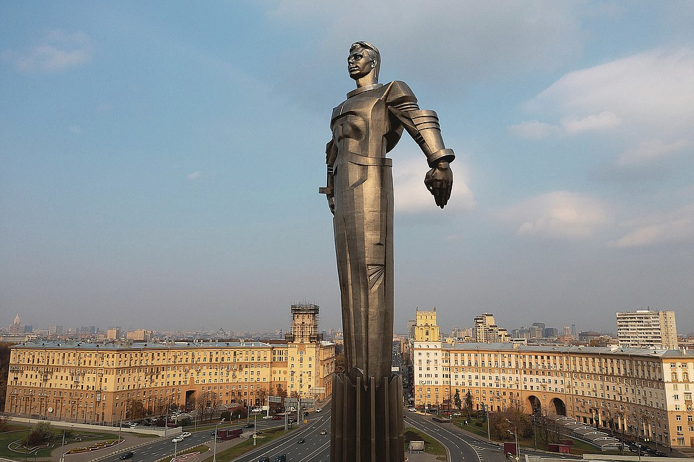 The monument of Yuri Gagarin, the first person who flew to space, in Moscow, Russia, Friday, Oct. 19, 2018. The monument built in 1980 also became a Moscow landmark. Gagarin's statue standing on a pedestal made to resemble a rocket exhaust is made of titanium. It's 42-meter (138-feet) high and weighs 12 tons (26,455 pounds). From a giant statue towering over Moscow to a more modest monument on the Sakhalin Island in the Pacific Ocean, dozens of memorials across Russia commemorate Yuri Gagarin, the cosmonaut who became the first person in space on April 12, 1961, 60 years ago. (AP Photo/Maxim Marmur)