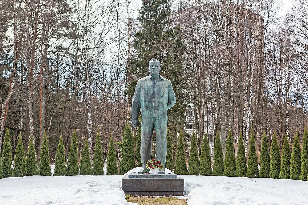 A monument to Soviet cosmonaut Yuri Gagarin, the first man in space at Russian Space Training Center in Star City outside Moscow, Russia, Monday, April 5, 2021. From a giant statue towering over Moscow to a more modest monument on the Sakhalin Island in the Pacific Ocean, dozens of memorials across Russia commemorate Yuri Gagarin, the cosmonaut who became the first person in space on April 12, 1961, 60 years ago. (AP Photo)
