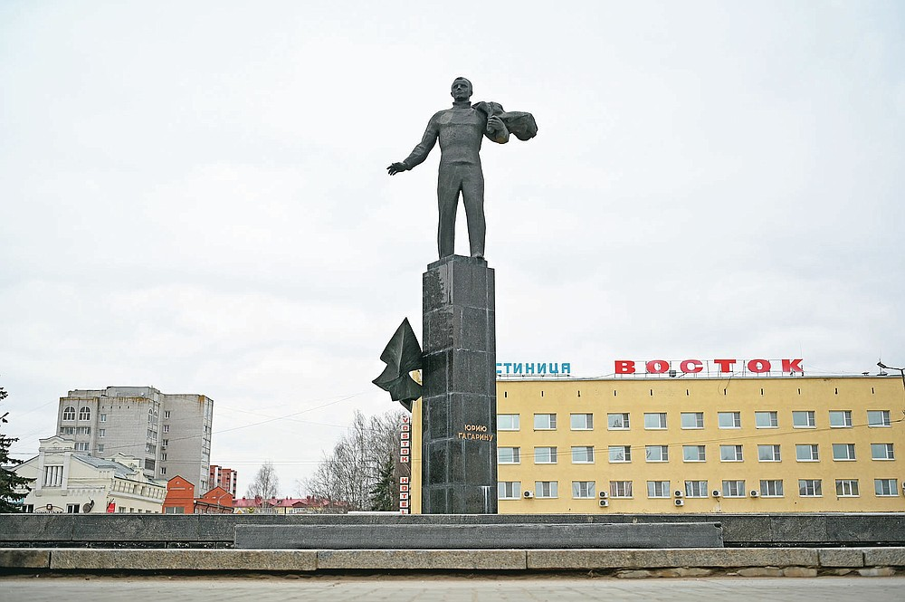 The monument of Yuri Gagarin, the first person who flew to space is seen in the city of Gagarin, former Gzhatsk, his homeland, in Smolensk region, Russia, Tuesday, April 6, 2021. From a giant statue towering over Moscow to a more modest monument on the Sakhalin Island in the Pacific Ocean, dozens of memorials across Russia commemorate Yuri Gagarin, the cosmonaut who became the first person in space on April 12, 1961, 60 years ago. (AP Photo)