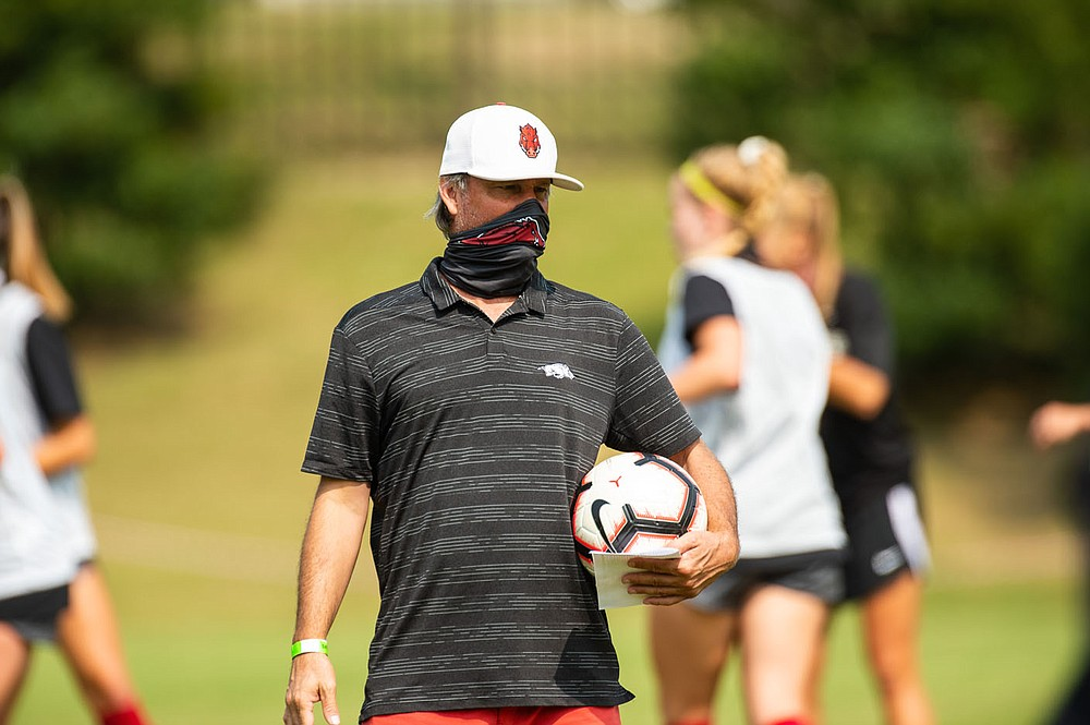 Arkansas women's soccer coach Colby Hale will likely lead the Razorbacks to their fifth straight NCAA Tournament berth and seventh in eight years when the field is announced today. (photo by Walt Beazley)