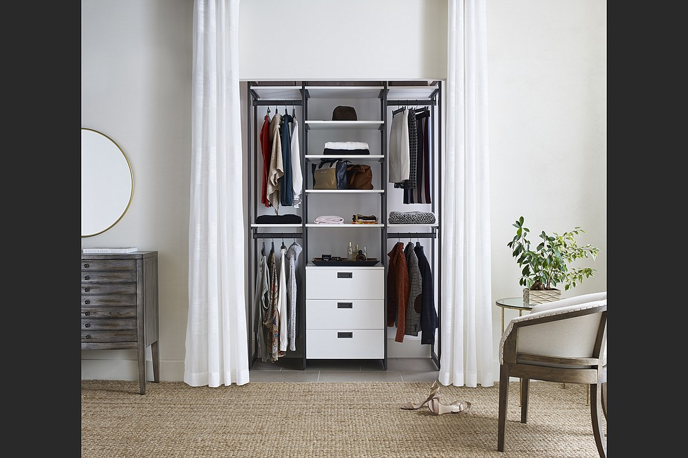 Adjustable closet systems like the Everyday System from California Closets can be moved and reconfigured easily as needs change. (California Closets via The Washington Post)
