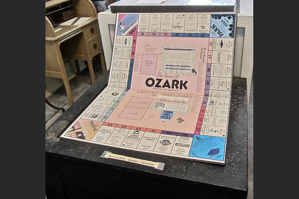 On display in the Ozark Area Depot Museum is a board game for the town. (Special to the Democrat-Gazette/Marcia Schnedler)
