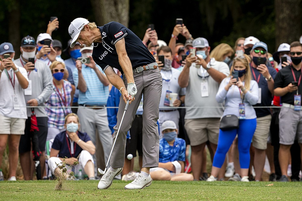 Will Zalatoris hits from the ninth tee during the first round of the RBC Heritage golf tournament in Hilton Head Island, S.C., Thursday, April 15, 2021. (AP Photo/Stephen B. Morton)
