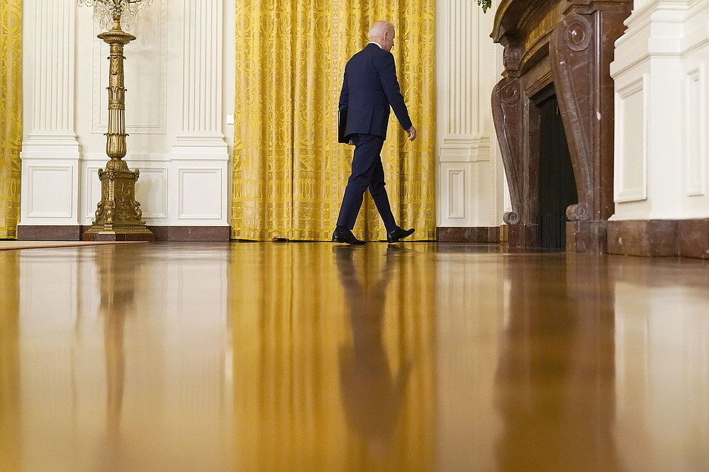 President Joe Biden leaves a news conference on Russia sanctions Thursday in the East Room of the White House. In expelling 10 diplomats and imposing new sanctions, Biden signaled a harder line against Moscow. (AP/Andrew Harnik)