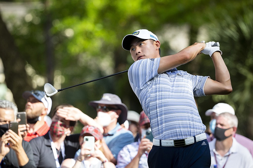 Collin Morikawa follows his drive down the 16th fairway during the third round of the RBC Heritage golf tournament in Hilton Head Island, S.C., Saturday, April 17, 2021. (AP Photo/Stephen B. Morton)