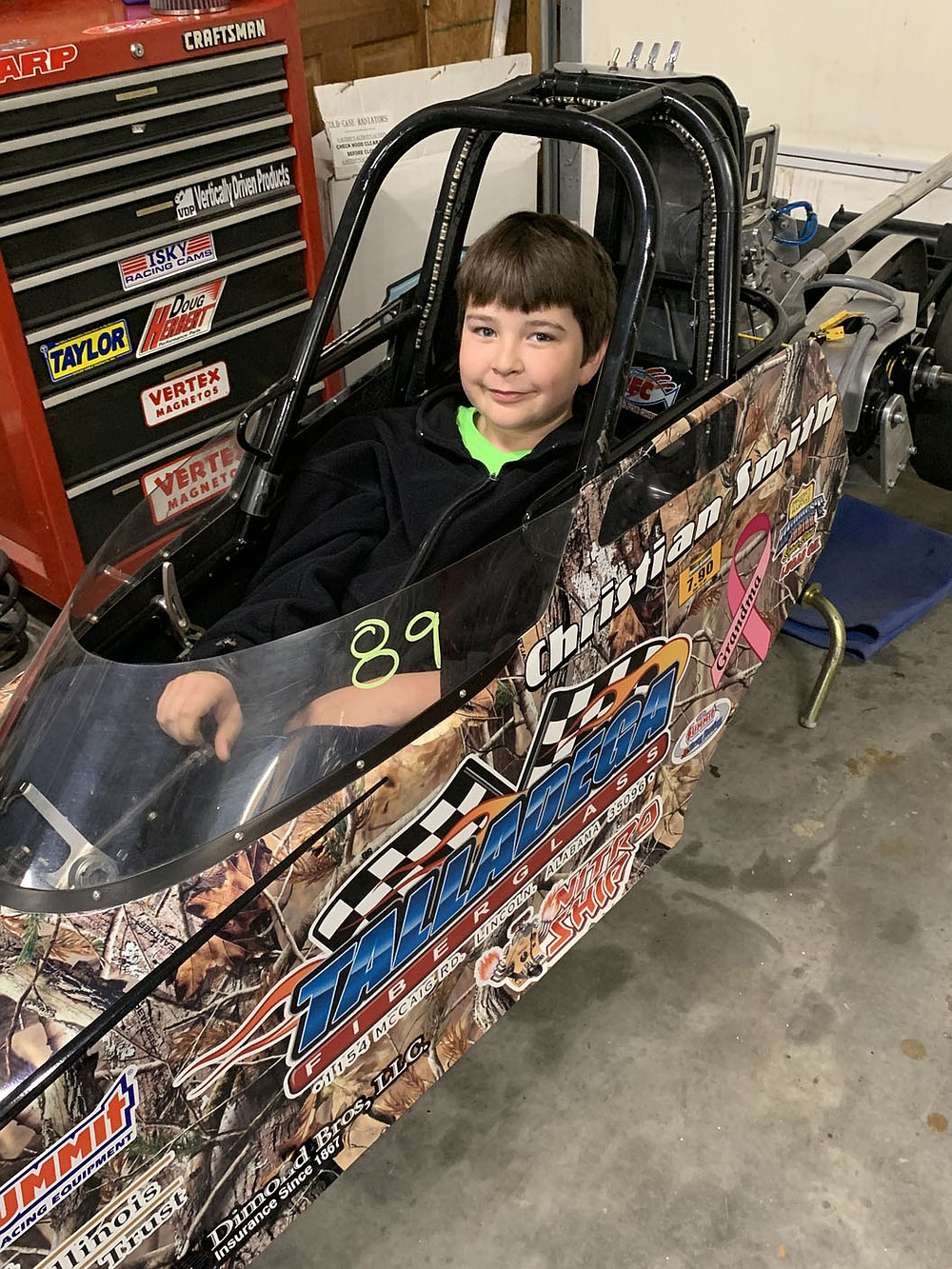 SALLY CARROLL/SPECIAL TO MCDONALD COUNTY PRESS Tristan Roughton, 9, enjoys junior drag racing. He and his cousin and his aunt compete regularly when the weather allows them to do so.
