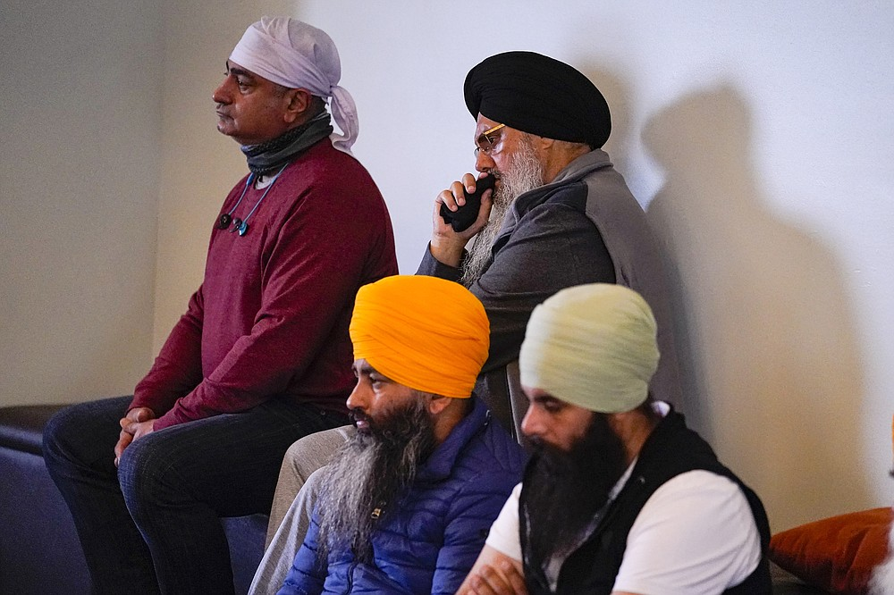 Members of the Sikh Coalition gather at the Sikh Satsang of Indianapolis on April 17 to formulate the groups response to the shooting at a FedEx facility in Indianapolis last week that claimed the lives of four members of the Sikh community.