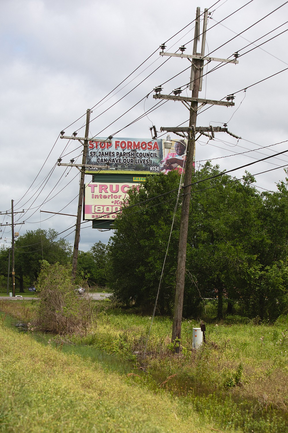 A billboard in St. James Parish, Louisiana, makes clear the local opposition to Formosa's proposed plant. MUST CREDIT: Photo for The Washington Post by Camille Lenain