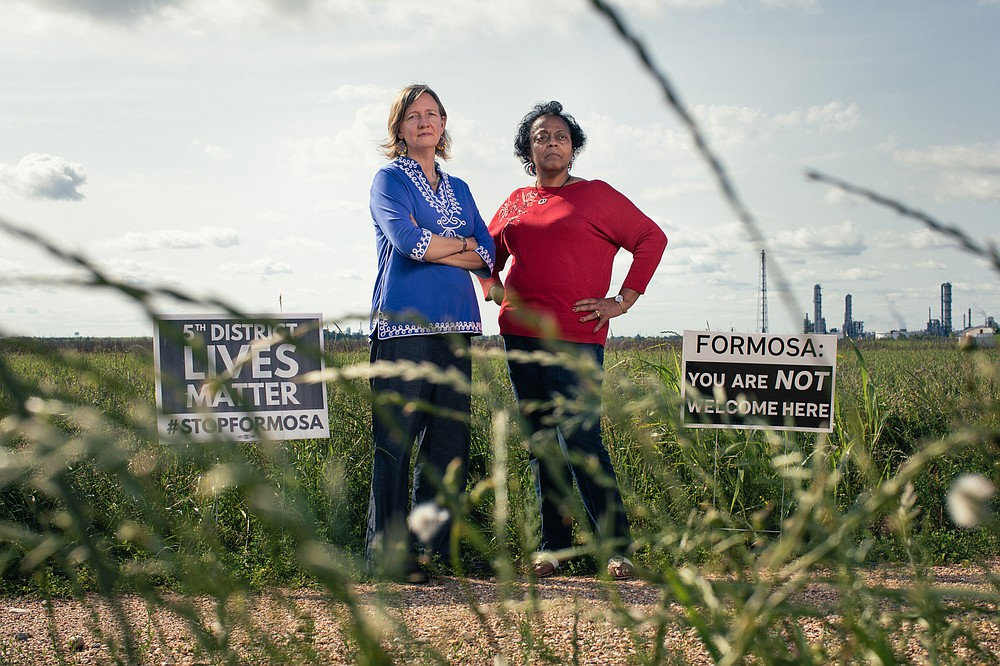 Environmental activist Anne Rolfes, left, and St. James Parish resident Sharon Lavigne are working to stop Formosa's $9.4 billion complex from being built in the community. Lavigne founded a local organization specifically to oppose the project. MUST CREDIT: Photo for The Washington Post by Camille Lenain