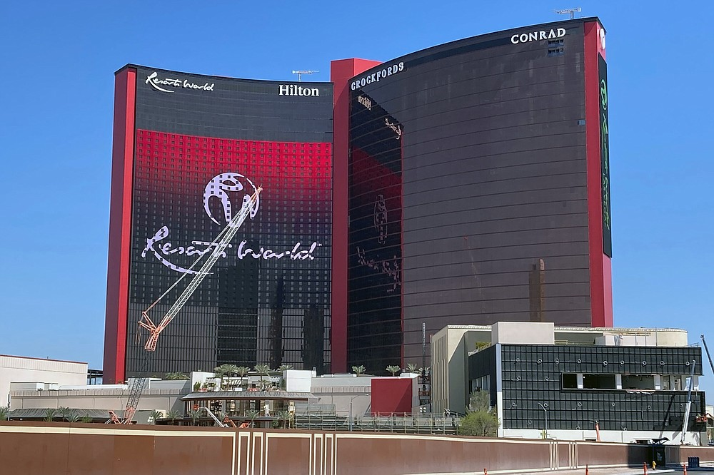 Resorts World Las Vegas is shown under construction Monday, April 19, 2021, in Las Vegas. Owners have announced a June 24, 2021, opening date after more than seven years of planning and building. The $4.3 billion complex by Malaysia-based Genting Group has been under construction since May 2015. It has more than 3,500 rooms at three Hilton-branded hotels. (AP Photo/Ken Ritter)
