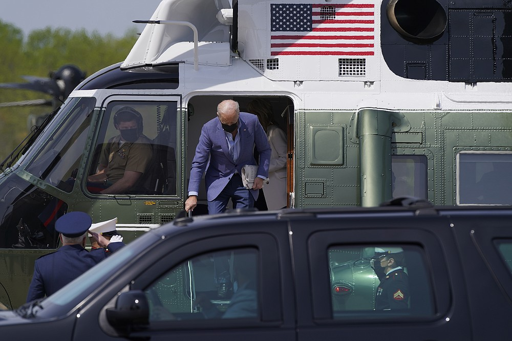 President Joe Biden steps off of Marine One at Delaware Air National Guard Base in New Castle, Del., Saturday, April 24, 2021. Biden is spending the weekend at his home in Delaware. (AP Photo/Patrick Semansky)