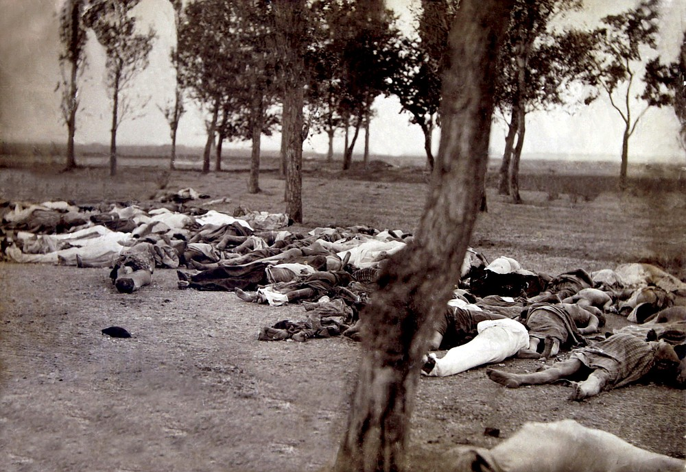 The bodies of deportees from Van who died of typhus and various other diseases, pictured in a forest near the Mother See of Etchmiadzin, about 25 kilometers (15 miles) from the Armenian capital of Yerevan, in the summer of 1915. Historians estimate that, in the last days of the Ottoman Empire, up to 1.5 million Armenians were killed by Ottoman Turks in what is widely regarded as the first genocide of the 20th century. Armenians have long pushed for the deaths to be recognized as genocide. While Turkey concedes that many died in that era, it rejects the term genocide, saying the death toll is inflated. Armenia on Saturday formally observes Genocide Remembrance Day, marking the start of the killings in 1915. (Armenian Genocide Museum/PAN Photo via AP)