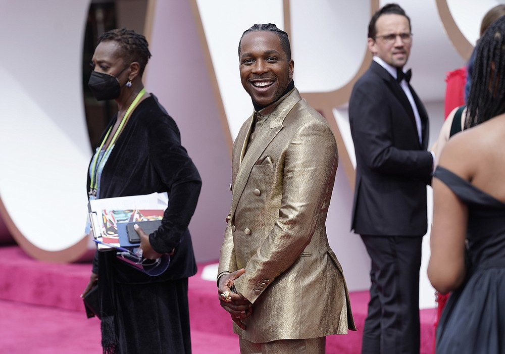 Leslie Odom Jr. arrives at the Oscars on Sunday, April 25, 2021, at Union Station in Los Angeles. (AP Photo/Chris Pizzello, Pool)