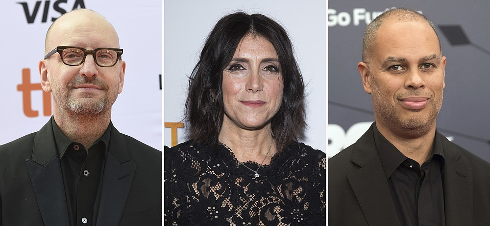 FILE - This combination file photo shows producers Steven Soderbergh, from left, Stacey Sher and Jesse Collins.  Soderbergh's concept for the 93rd Academy Awards show on ABC, Sunday, April 25, 2021, which he's producing with Sher and Collins, is to treat the telecast not like a TV show but a movie. The base of the show won't be at the Academy Awards' usual home, but held at Union Station, the airy, Art Deco-Mission Revival railway hub in downtown Los Angeles. (AP Photo, File)