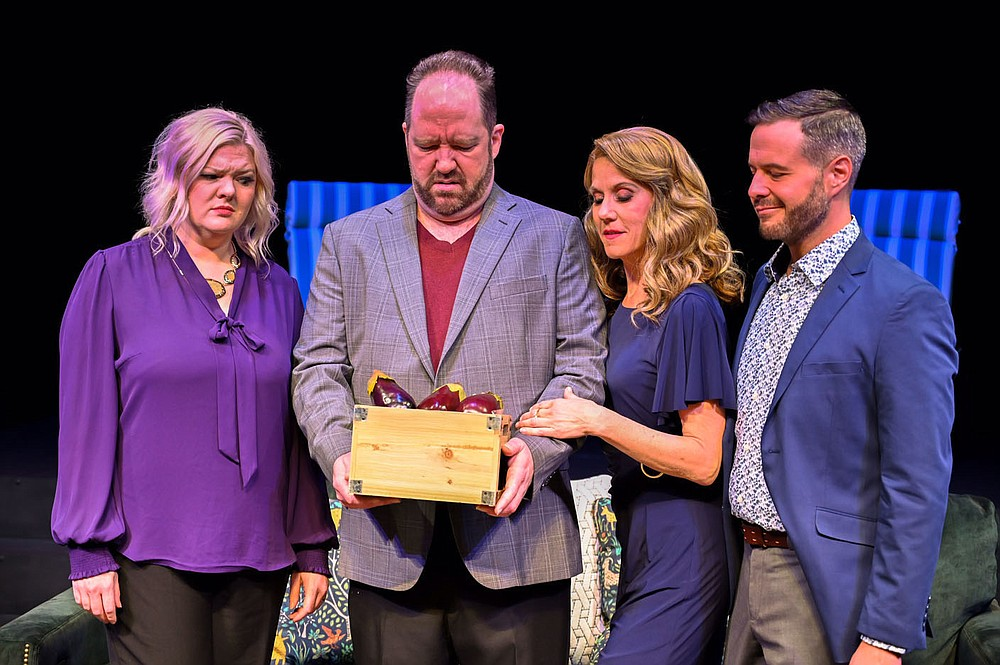 """Corky (Stephanie Whitcomb, left) and Norm (Scott Kammerzell, second from left) aren't sure what to make of the unusual gift of eggplant that's appeared along with two unusual guests, Laura (Amy Eversole) and Gerald (Joseph Farmer) in the Arkansas Public Theatre 2020 production of Steve Martin's """"Meteor Shower."""" The show was ready to open when the pandemic shut down live theater. Now it's back on the APT schedule for Season 36. Director Ed McClure hopes to have the same cast.  (Courtesy Photo/APT)"""