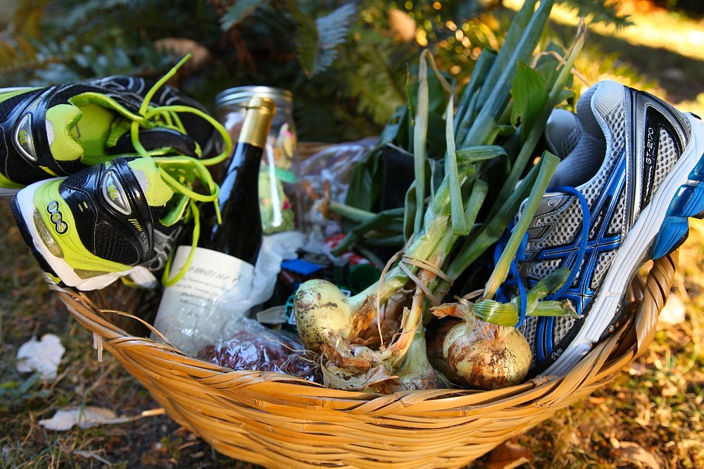 A bounty basket from Clark's home and garden that she recently gave away. (Courtesy of Liesl Clark)