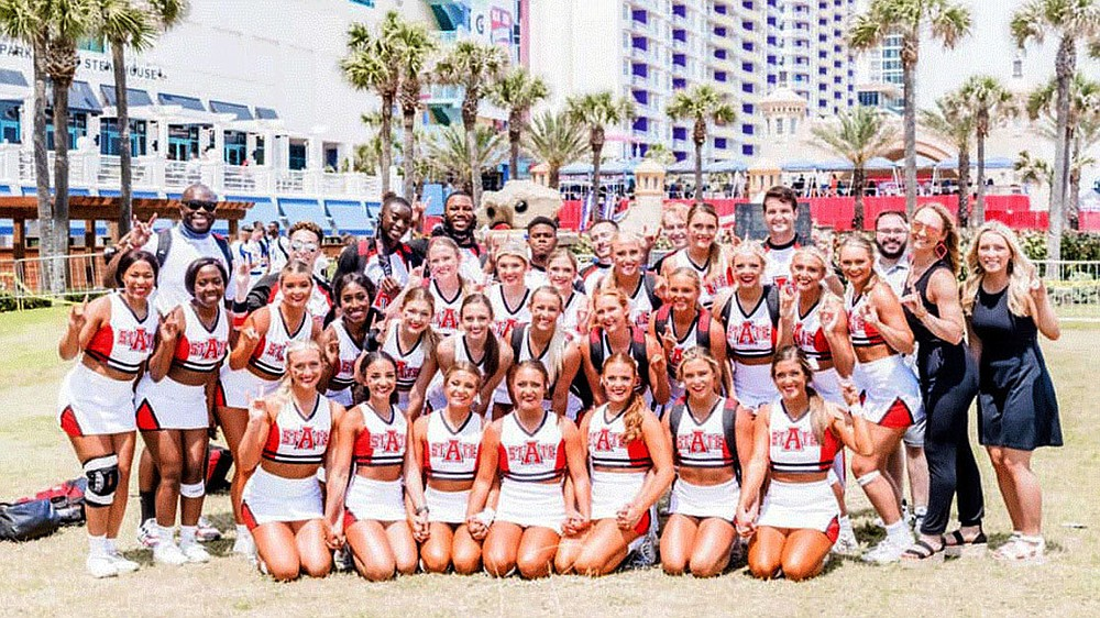 For the first time in Arkansas State University history, the spirit squads of cheer and dance posted the highest finishes ever at the 40th National Cheerleaders/National Dance Associations College Nationals recently in Daytona, Fla. Arkansas State's cheer and dance team is one of the university's elite level club sports that compete on the national level. (Courtesy photos)