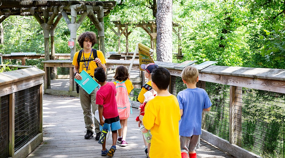 A counselor guides young campers at the Little Rock Zoo's Zoofari Camp in 2019. In-person summer camps are back with a vengeance in what appear to be the waning days of covid-19. (Courtesy of the Little Rock Zoo)