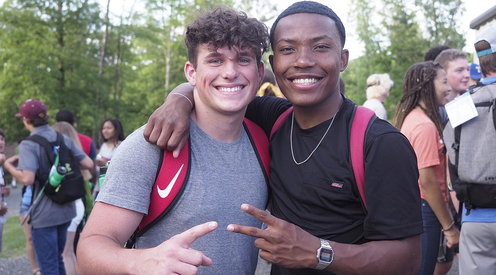 Two participants take a buddy photo at a previous Arkansas Fellowship of Christian Athletes camp in Lonsdale. The camp was missed in 2020, says FCA official Micah May. (Courtesy of Arkansas FCA)