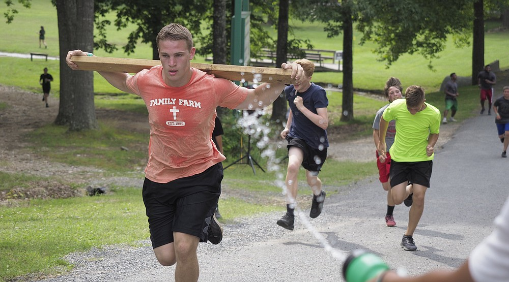 Campers run at the Arkansas Fellowship of Christian Athletes summer gathering in Lonsdale. (Courtesy of Arkansas FCA)