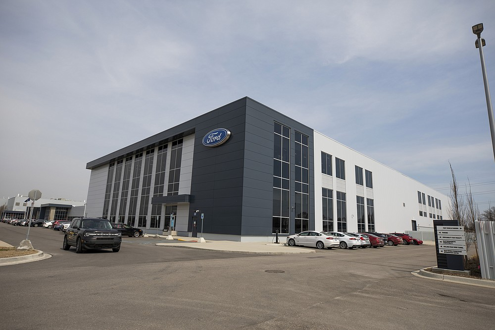 This photo provided by Ford shows Ford Motor Co.'s Battery Benchmarking and Test Laboratory in Allen Park, Mich., on April 6, 2021.  (Ford via AP)