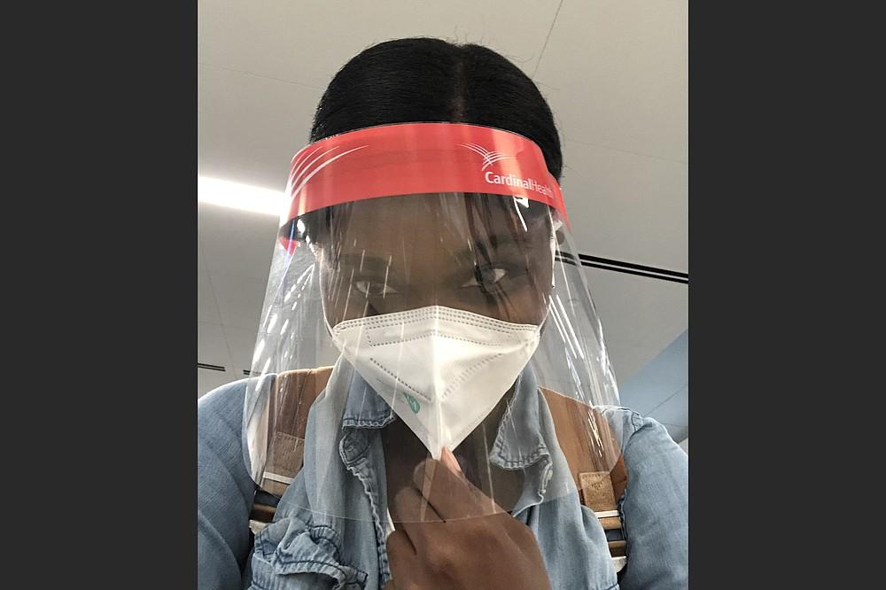 Omokha is all geared up in Atlanta on Sept. 17. (The Washington Post/Rita Omokha)