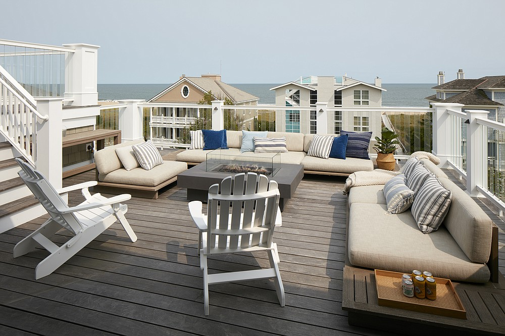 A beach home by Marnie Custom Homes features a rooftop with furniture from Restoration Hardware's Maldives collection. (Courtesy Dana Hoff via The Washington Post)