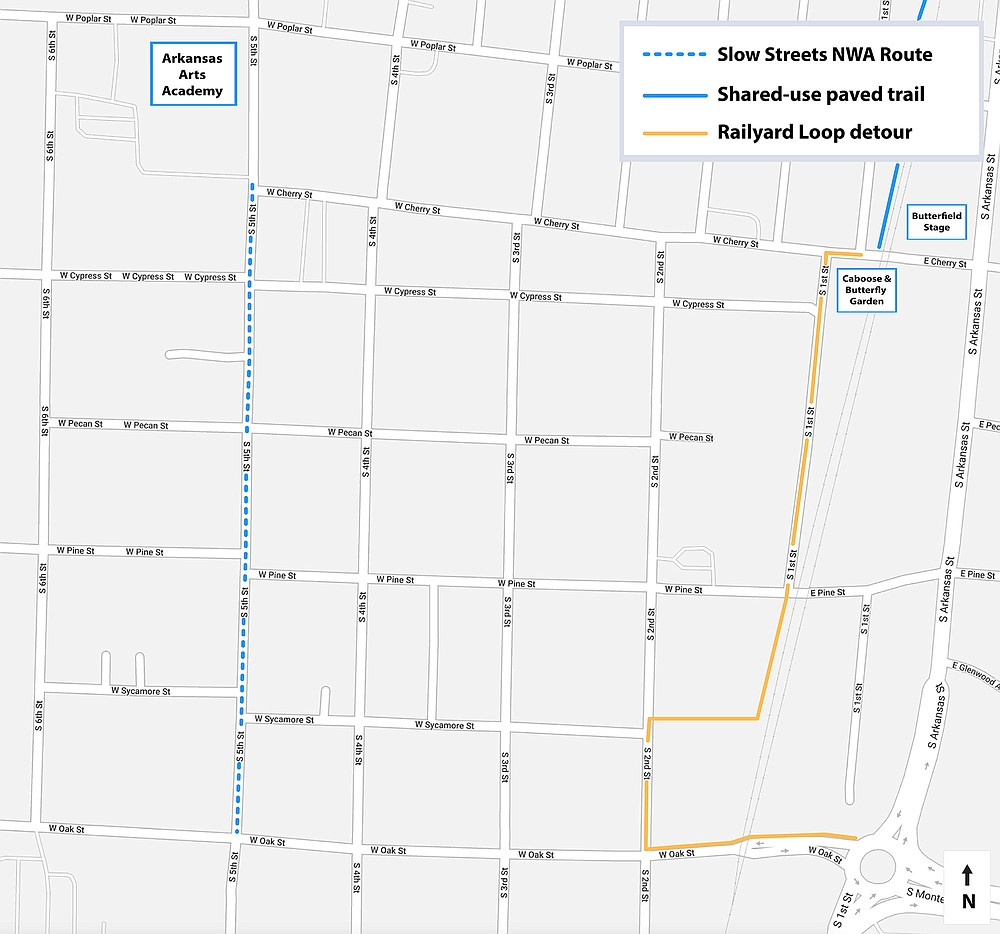Slow Streets map for Rogers.