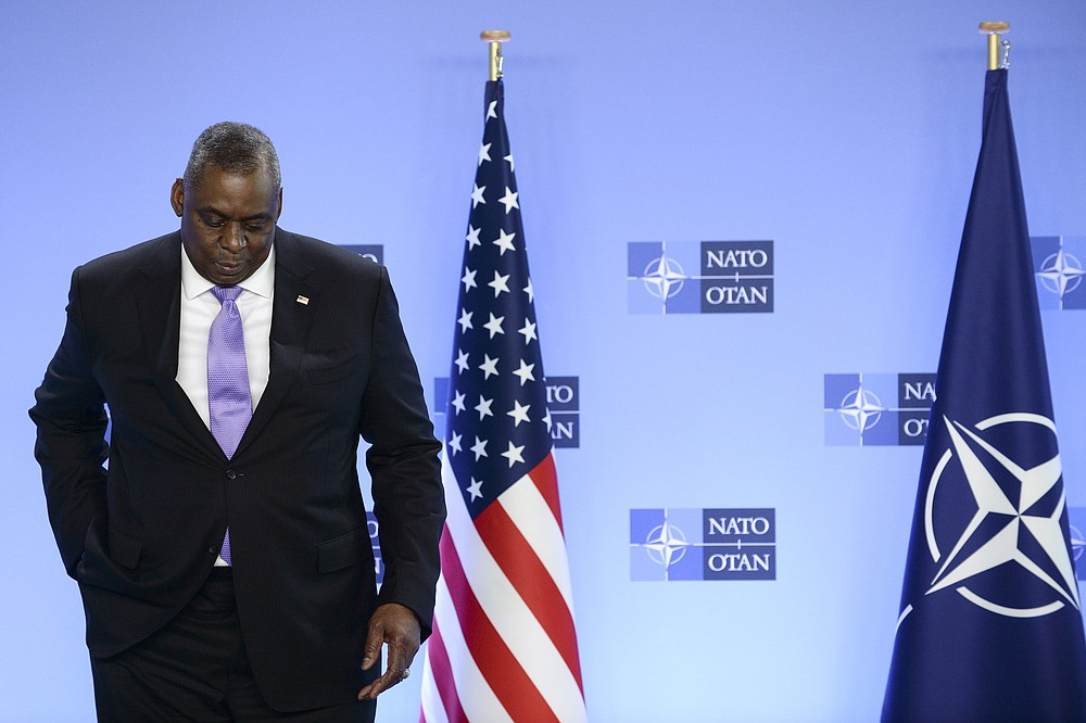 United State Secretary of Defense Lloyd Austin poses for photographers as he arrives at NATO headquarters in Brussels, Wednesday, April 14, 2021. (Johanna Geron, Pool via AP)