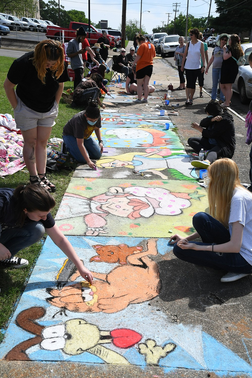 Twenty-two Hot Springs World Class High School students participated in Chalk Walk this year. - Photo by Tanner Newton of The Sentinel-Record
