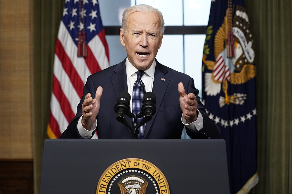 "FILE - In this April 14, 2021, file photo, President Joe Biden speaks from the Treaty Room in the White House, about the withdrawal of the remainder of U.S. troops from Afghanistan. The final phase of ending America's ""forever war"" in Afghanistan after 20 years formally began Saturday, May 1, 2021, with the withdrawal of the last U.S. and NATO troops by the end of summer. (AP Photo/Andrew Harnik, File)"