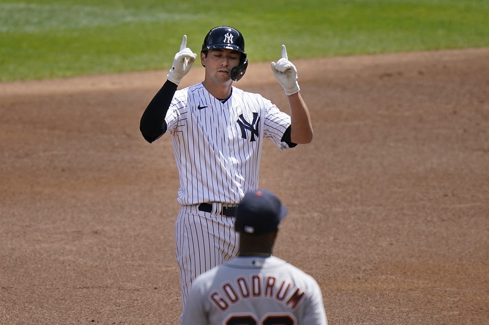 New York Yankees' Kyle Higashioka celebrates after his RBI-double during the second inning of a baseball game against the Detroit Tigers at Yankee Stadium, Sunday, May 2, 2021, in New York. (AP Photo/Seth Wenig)