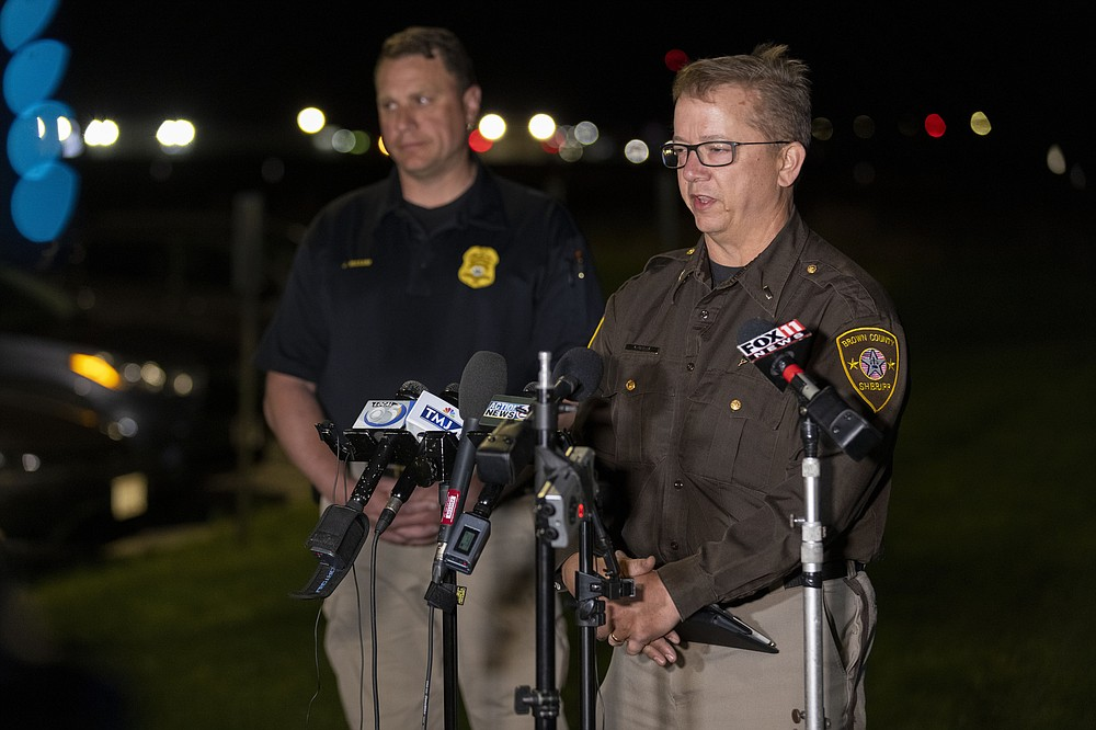 Lt. Kevin Pawlak of the Brown County Sheriff's Office talks to the media about a shooting incident with multiple fatalities at the Oneida Casino near Green Bay, Wis on Saturday May 1, 2021. Authorities in Wisconsin say a gunman killed two people at the casino restaurant and seriously wounded a third before he was shot and killed by police Saturday. (AP Photo/Mike Roemer)