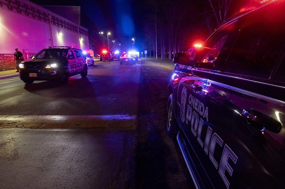 Law enforcement at the Oneida Casino near Green Bay, Wis in the early morning hours of Sunday May 2nd, 2021 after an active shooter. Authorities in Wisconsin say a gunman killed two people at the casino restaurant and seriously wounded a third before he was shot and killed by police Saturday. (AP Photo/Mike Roemer)