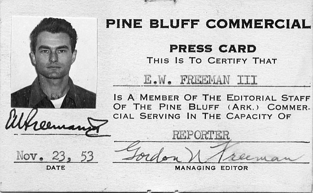 Edmond Freeman is pictured in a 1953 press identification card issued by The Pine Bluff Commercial. (Special to The Commercial)