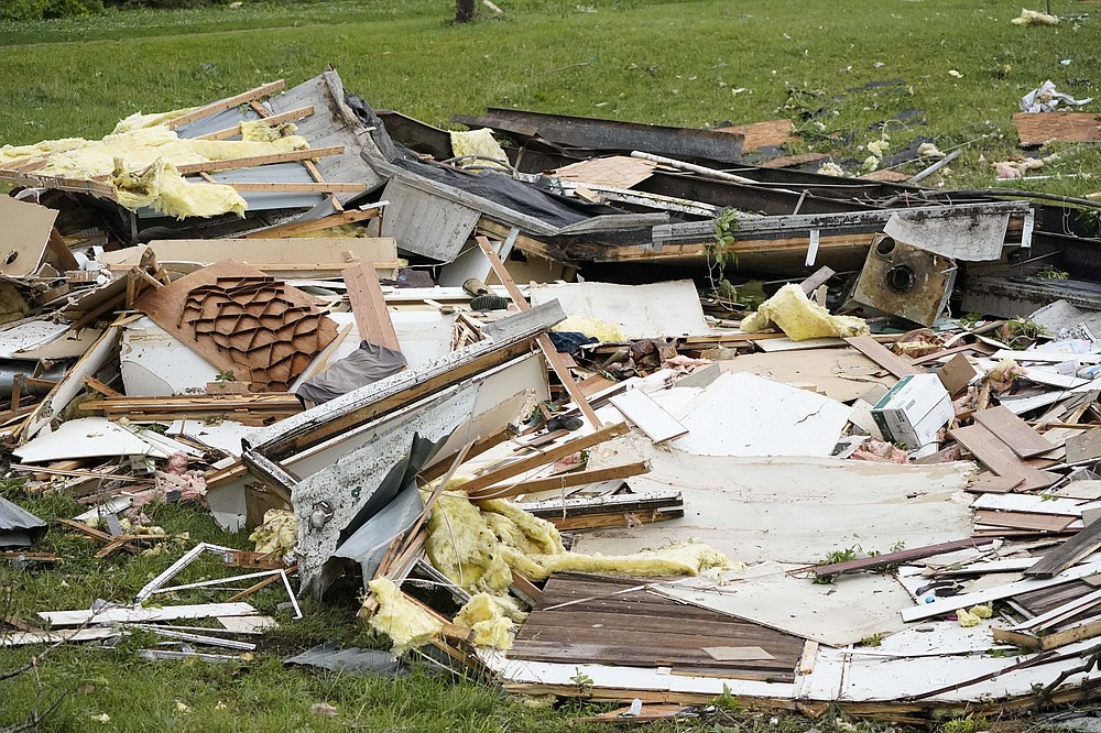 The remains of a mobile home are shown early Monday, May 3, 2021, in Yazoo County, Miss. Multiple tornadoes were reported across Mississippi on Sunday, causing some damage but no immediate word of injuries. (AP Photo/Rogelio V. Solis)