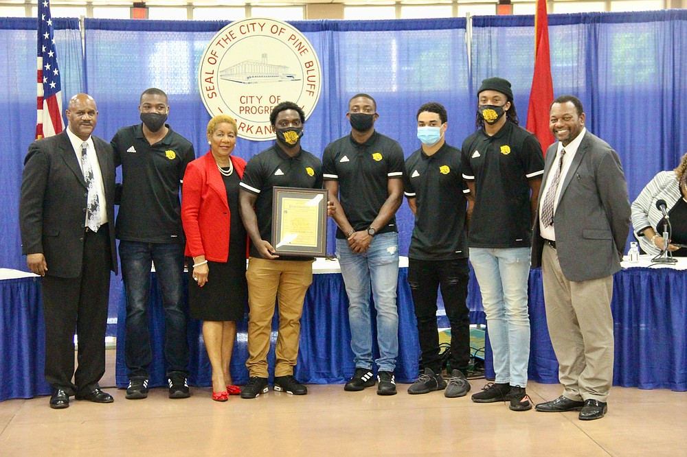 The University of Arkansas-Pine Bluff (UAPB) Golden Lion football team was recognized by Mayor Shirley Washington and the city council during the Pine Bluff City Council meeting Monday night. (Pine Bluff Commercial/Eplunus Colvin)