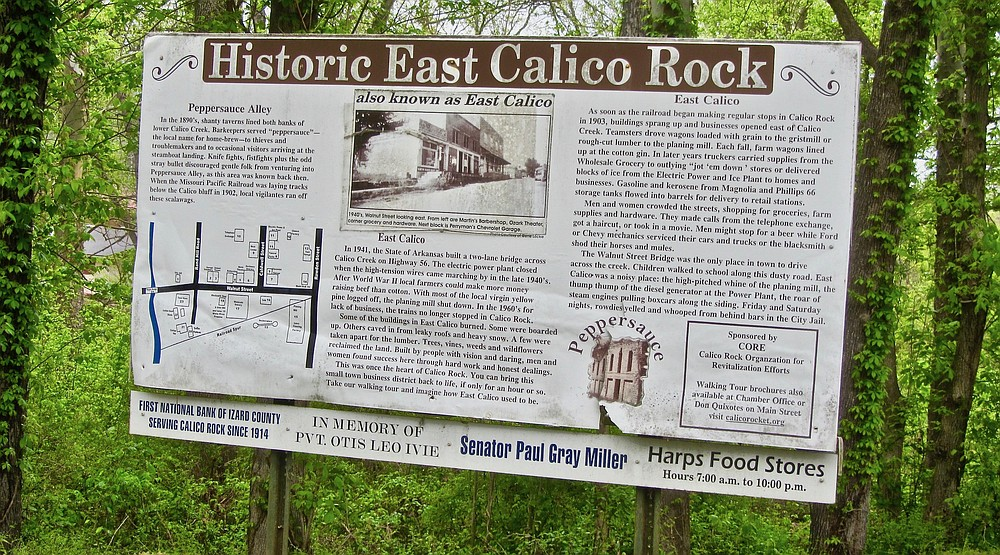 The history of East Calico Historic District is told at the entrance to the ghost town. (Special to the Democrat-Gazette/Marcia Schnedler)