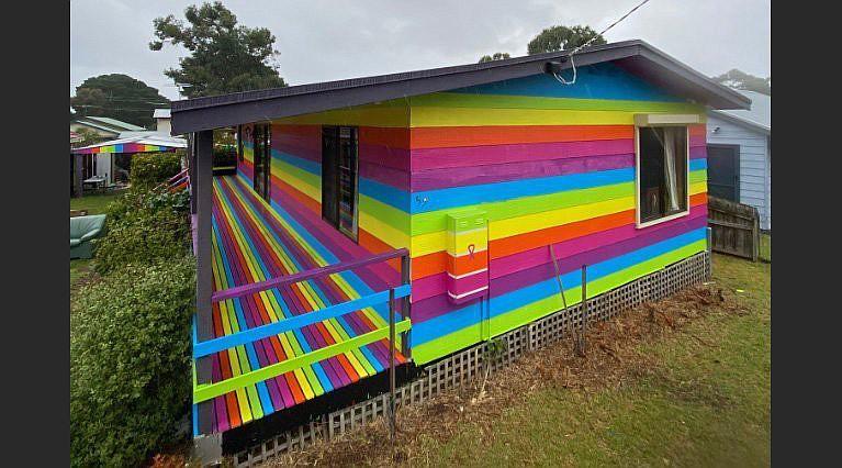 Mykey O'Halloran's rainbow house on Australia's Phillip Island was done with the help of volunteers. (Mykey O'Halloran)