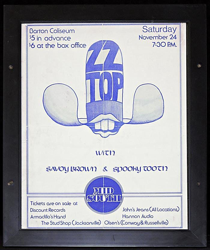ZZ Top had an interesting poster touting its Barton Coliseum show with opening acts Savoy Brown and Spooky Tooth. The show was just $5 in advance and $6 at the box office.