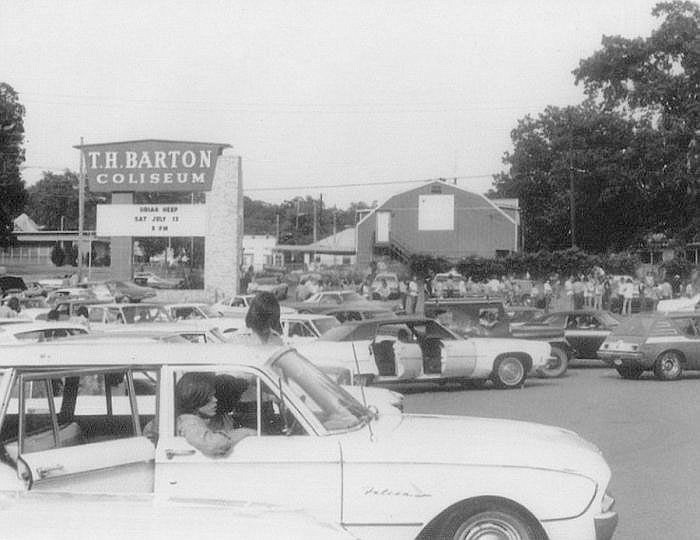 Concertgoers gather in the parking lot for a 1974 show at Barton Coliseum. For years, the arena at the Arkansas State Fairgrounds was the largest indoor concert venue in the state.