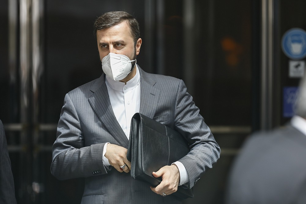 Iran's Governor to the International Atomic Energy Agency (IAEA), Kazem Gharib Abadi leaves the 'Grand Hotel Wien' where closed-door nuclear talks take place in Vienna, Austria, Friday, May 7, 2021. (AP Photo/Lisa Leutner)