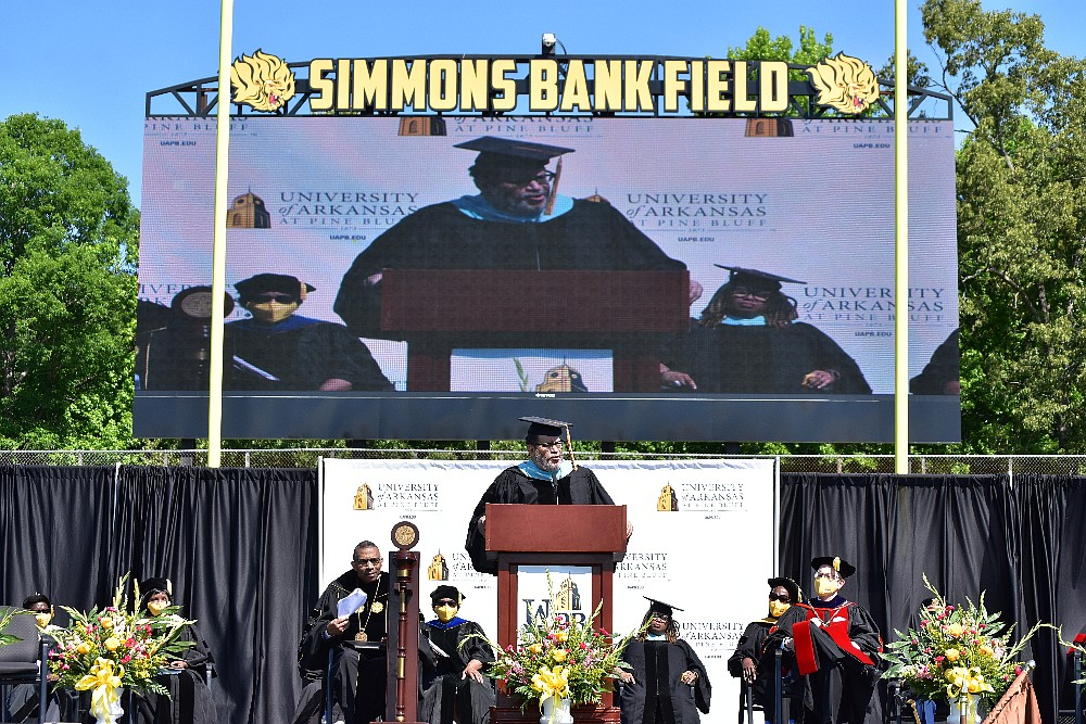 The video board at Simmons Bank Field displays a live shot of bestselling author and political commentator Michael Eric Dyson delivering the commencement address during UAPB spring graduation Saturday, May 8, 2021. (Pine Bluff Commercial/I.C. Murrell)