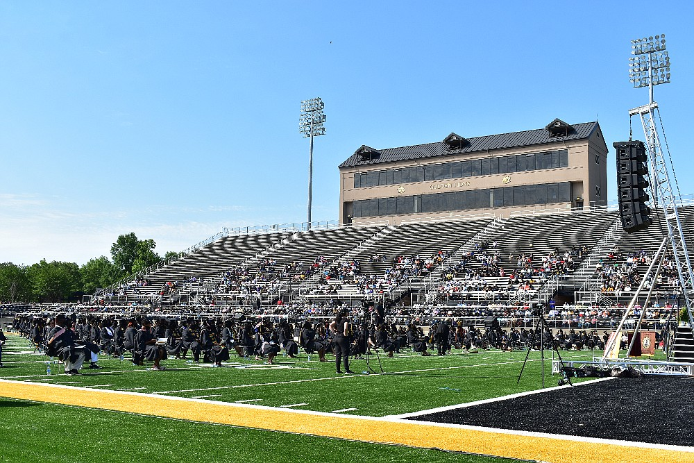 Simmons Bank Field is pictured during UAPB spring commencement Saturday, May 8, 2021. (Pine Bluff Commercial/I.C. Murrell)