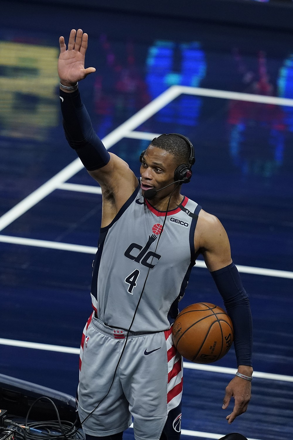 Washington Wizards' Russell Westbrook reacts as he is interviewed following an NBA basketball game against the Indiana Pacers, Saturday, May 8, 2021, in Indianapolis. Washington won 133-132 in overtime. (AP Photo/Darron Cummings)